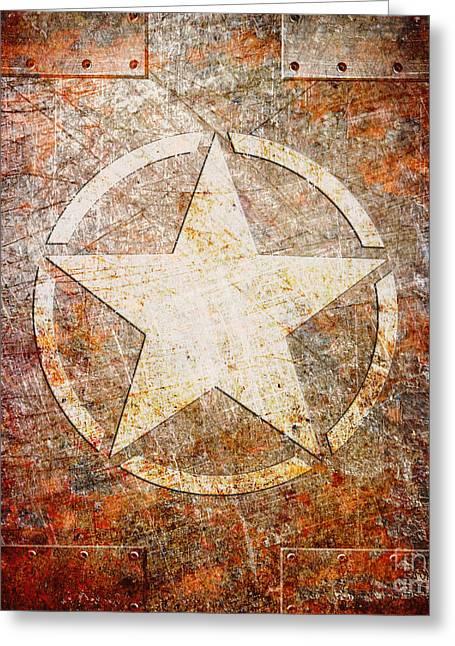 Army Star On Rust Greeting Card