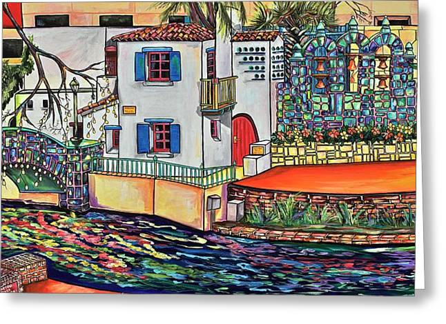 Greeting Card featuring the painting Arneson Theatre In Blues by Patti Schermerhorn