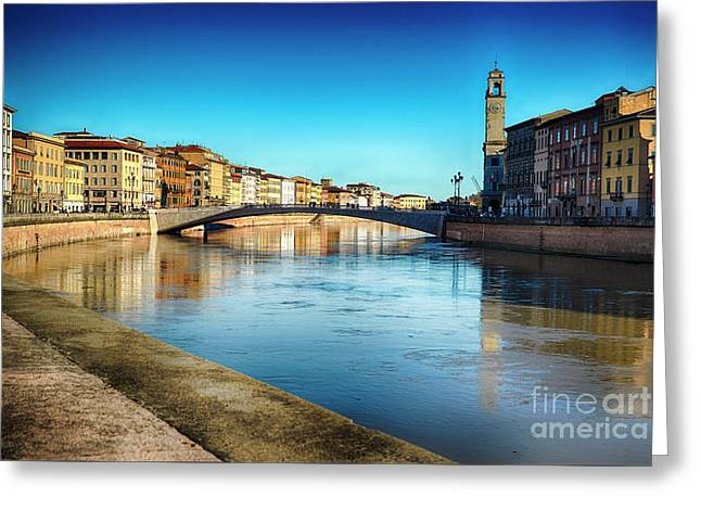 Arno River View In Pisa Greeting Card