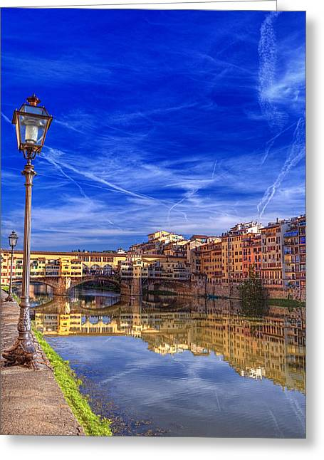 Arno River Florence Greeting Card by Clint Hudson
