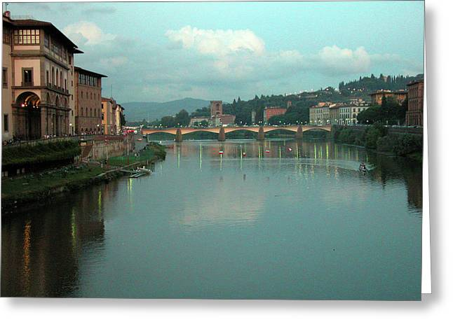 Greeting Card featuring the photograph Arno River, Florence, Italy by Mark Czerniec