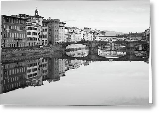 Arno River Reflection, Florence, Italy Greeting Card by Richard Goodrich