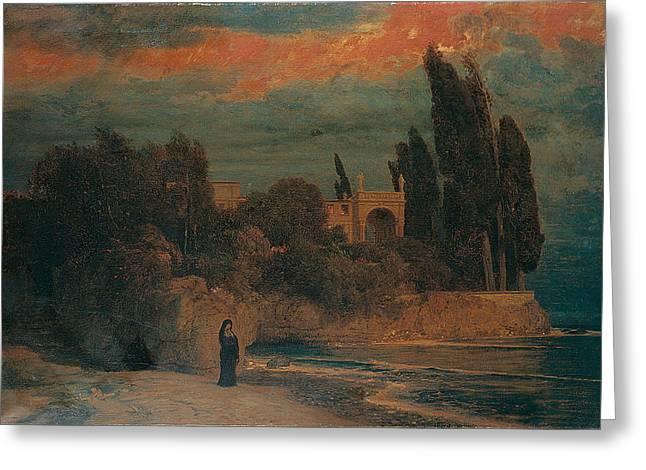 Arnold Bocklin , Villa By The Sea Greeting Card