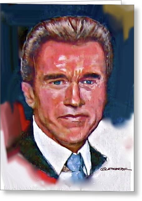 Arnold Schwarzenegger Greeting Cards - Arnold Schwarzenegger Greeting Card by Dean Gleisberg