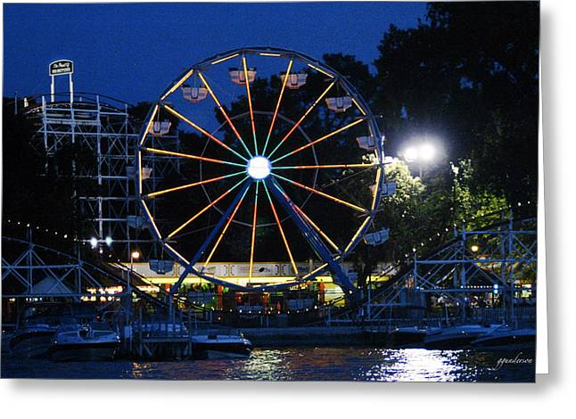 Arnolds Park At Night Greeting Card