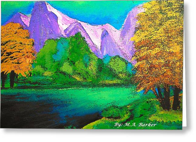 Arora Borealis Mountain Image Greeting Card by Mary ann Barker