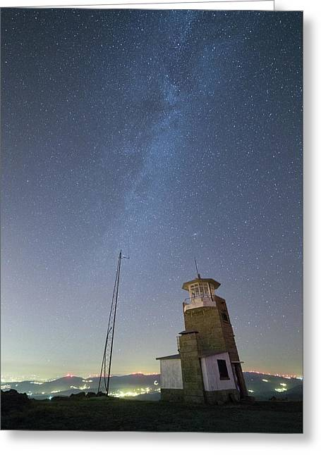 Greeting Card featuring the photograph Arouca And The Milky Way by Bruno Rosa