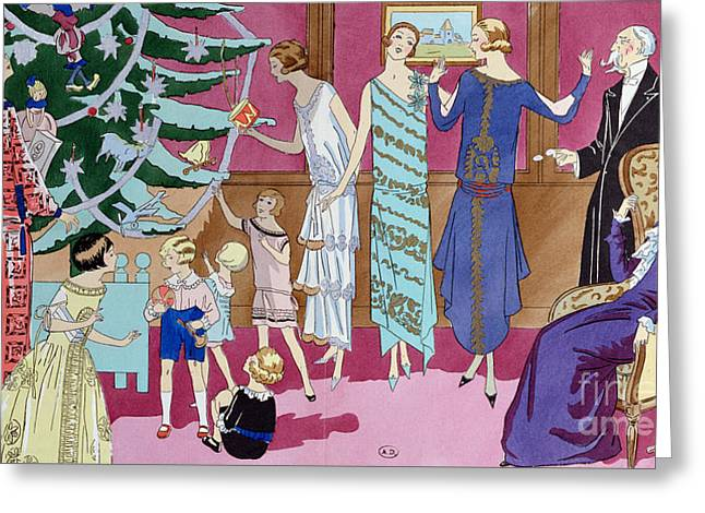 Around The Christmas Tree Greeting Card by French School
