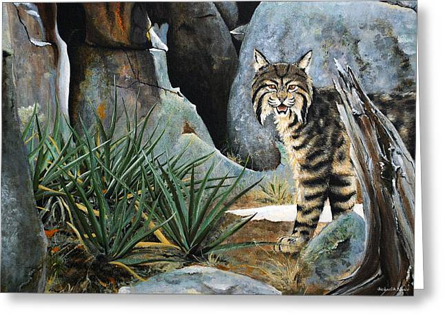 Bobcats Paintings Greeting Cards - Around the corner Greeting Card by Michael Blanco
