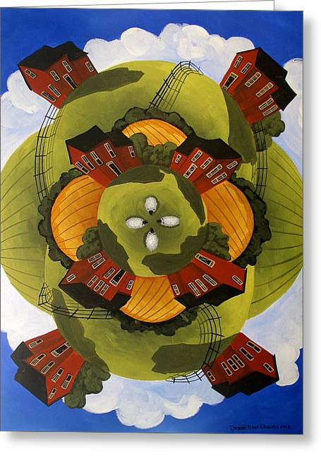 Around The Countryside - Folk Art Greeting Card by Debbie Criswell