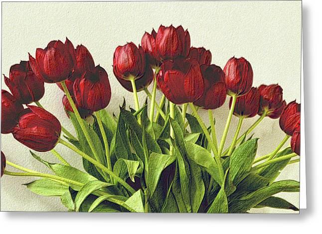 Array Of Red Tulips Greeting Card by Nadalyn Larsen