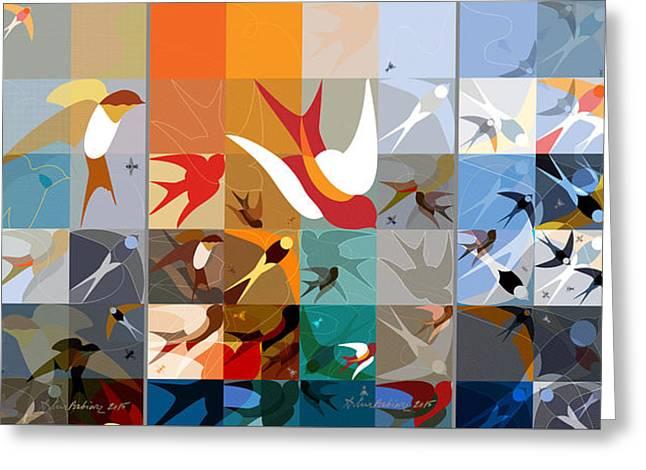 Arraygraphy - Birdies Triptych Greeting Card