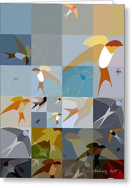 Arraygraphy - Birdies Triptych Part1 Greeting Card
