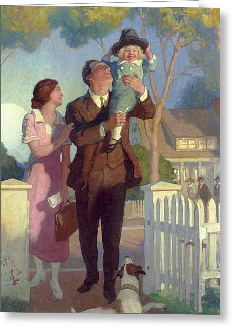 Arriving Home Greeting Card by Newell Convers Wyeth