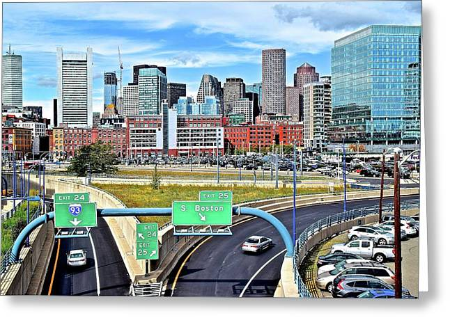 Arriving To Boston Greeting Card by Frozen in Time Fine Art Photography