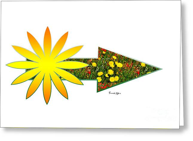 Arrow With Sun And Flowers Greeting Card