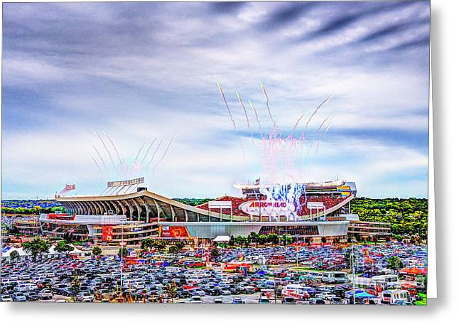Arrowhead Touchdown Celebration Greeting Card by Jean Hutchison