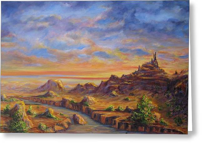 Arroyo Sunset Greeting Card by Thomas Restifo