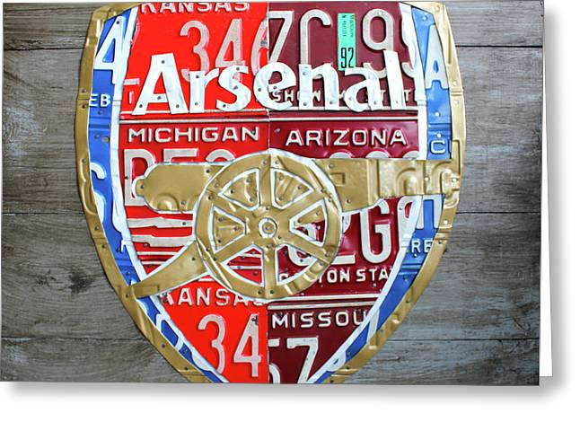 Arsenal Football Team Emblem Recycled Vintage Colorful License Plate Art Greeting Card