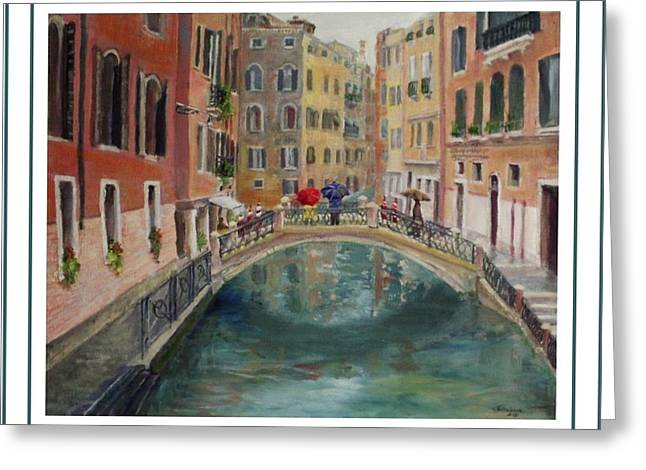 Art Card - Umbrellas In Venice Greeting Card
