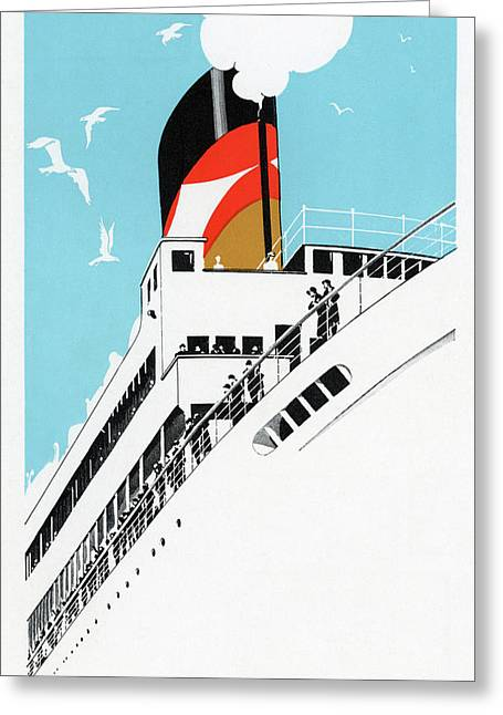 Art Deco 1920s Illustration Of A Cruise Ship With Passengers, 1928  Greeting Card