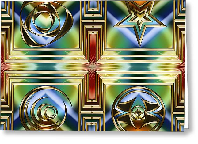 Greeting Card featuring the digital art Art Deco 4 Panel by Chuck Staley