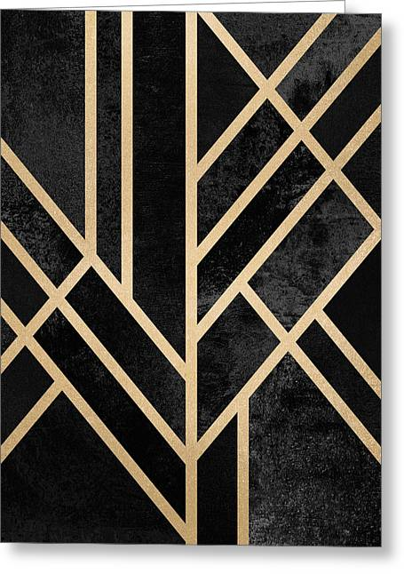 Art Deco Black Greeting Card by Elisabeth Fredriksson