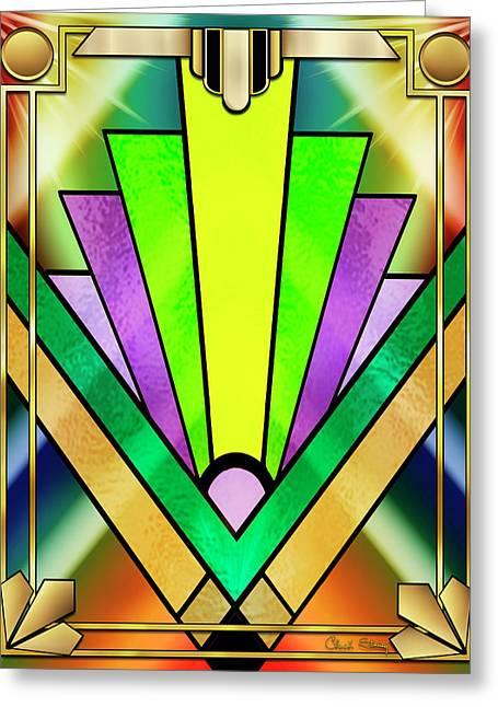Greeting Card featuring the digital art Art Deco Chevron 3 V by Chuck Staley