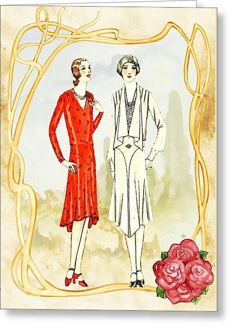 Art Deco Fashion Girls Greeting Card