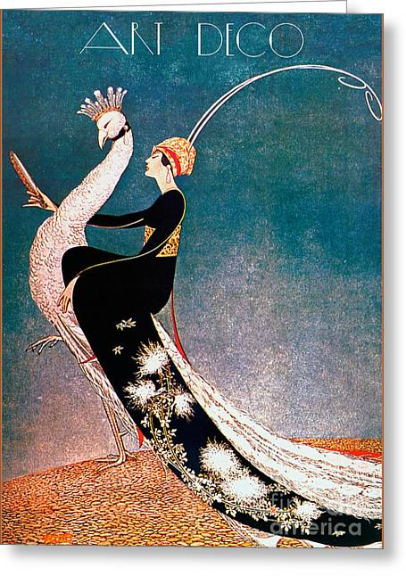 Art Deco Fashion Peacock Greeting Card by Mindy Sommers