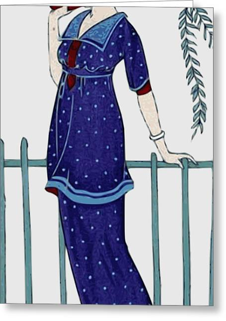 Art Deco Fashion Polka Dots Greeting Card