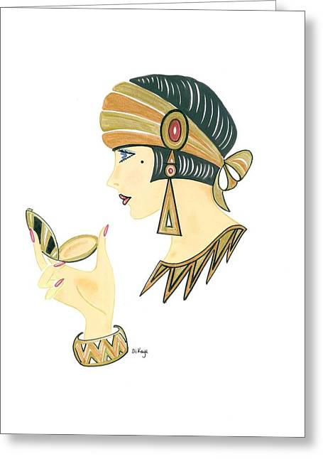 Art Deco Lady - Amber Greeting Card