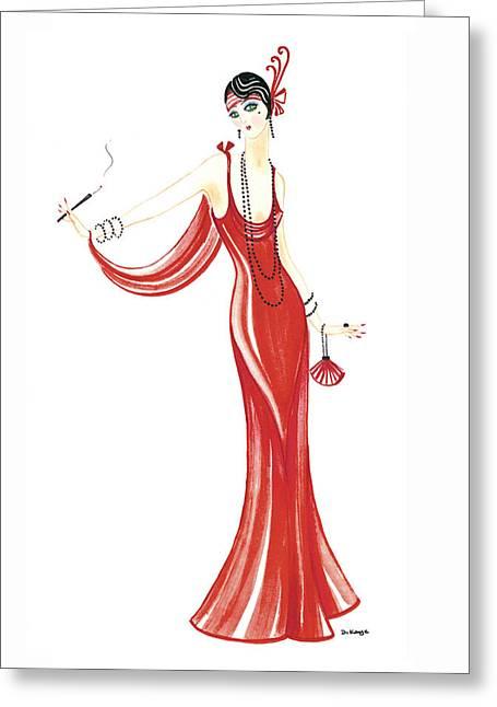 Art Deco Lady - Daphne Greeting Card by Di Kaye