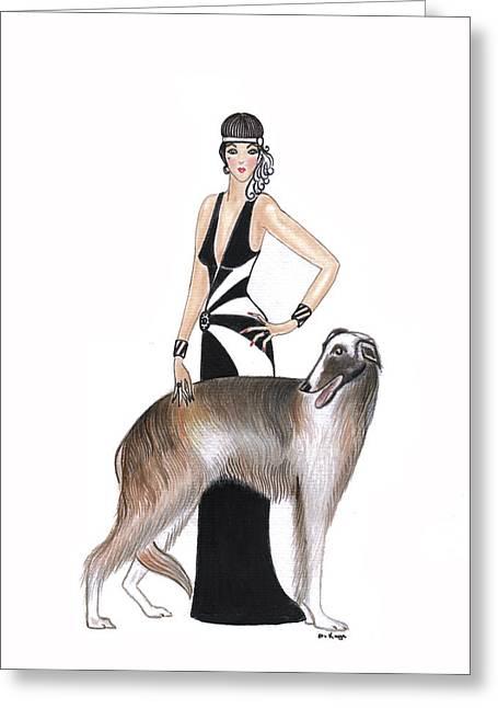 Art Deco Lady - Katarina And Tsar Greeting Card