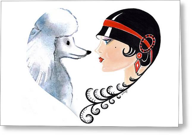Art Deco Lady - Les Amis Greeting Card by Di Kaye
