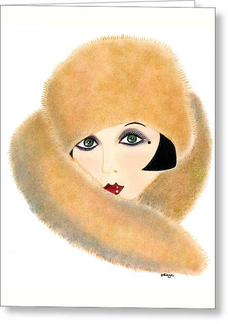 Art Deco Lady - Vivian Greeting Card by Di Kaye