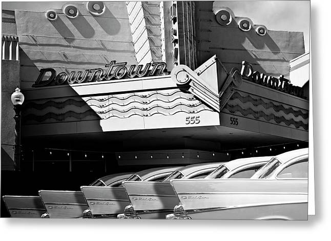 Art Deco Movie Theatre And Chevrolet Belair Greeting Card