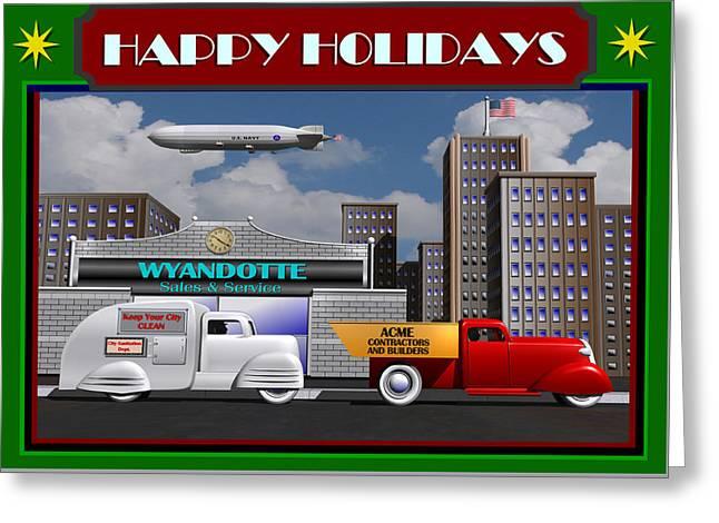 Art Deco Street Scene Christmas Card Greeting Card by Stuart Swartz