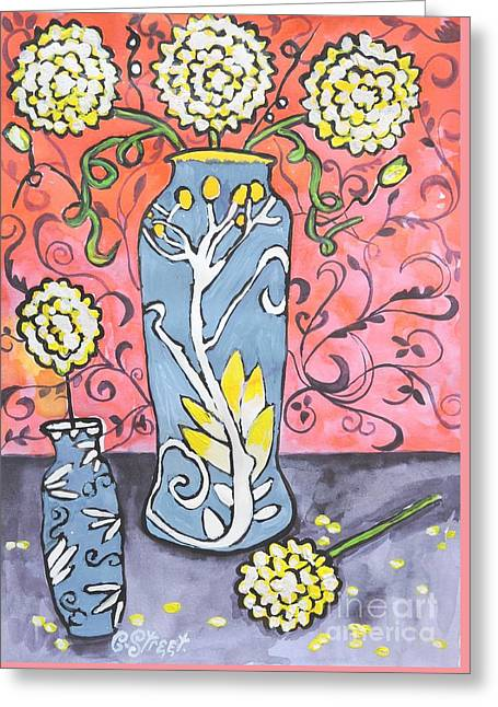 Art Deco Vase With Three Flowers Greeting Card
