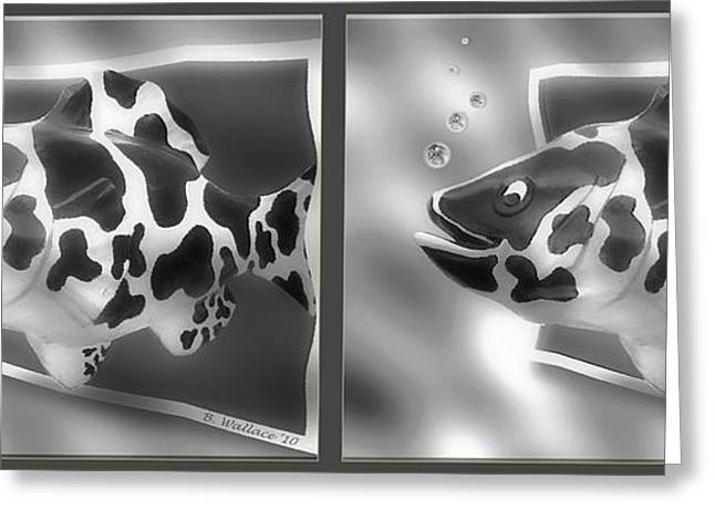 Art Fish - Gently Cross Your Eyes And Focus On The Middle Image That Appears Greeting Card by Brian Wallace