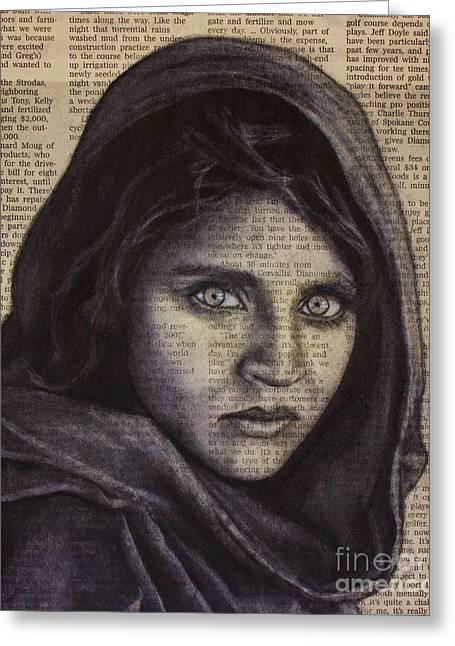 Art In The News 64-afghan Girl Greeting Card