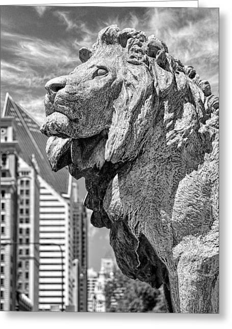 Art Institute In Chicago Lion Black And White Greeting Card