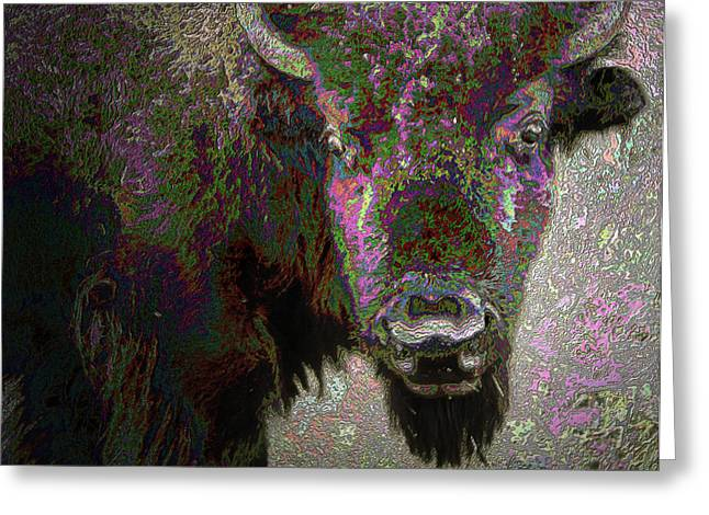 Greeting Card featuring the mixed media Art Neuvo Bison by Irma BACKELANT GALLERIES