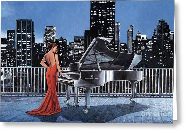 Art Noir, Pianist On The Roof Greeting Card