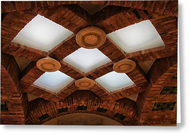 Art Nouveau Ceiling At Sant Pau Greeting Card by Dave Mills