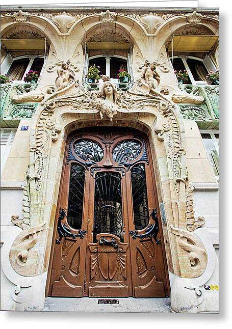 Greeting Card featuring the photograph Art Nouveau Doors - Paris, France by Melanie Alexandra Price