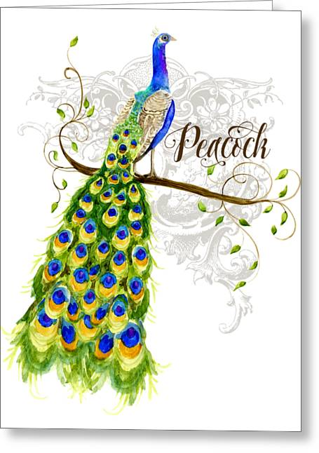 Art Nouveau Peacock W Swirl Tree Branch And Scrolls Greeting Card by Audrey Jeanne Roberts
