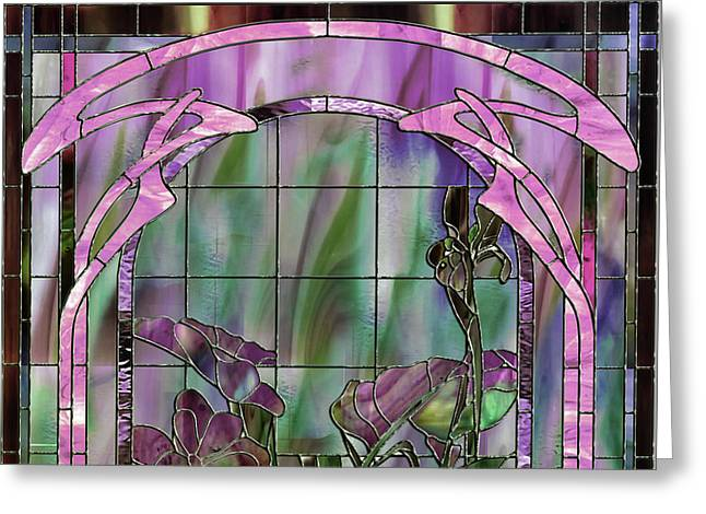 Art Nouveau Stained Glass Panel Greeting Card