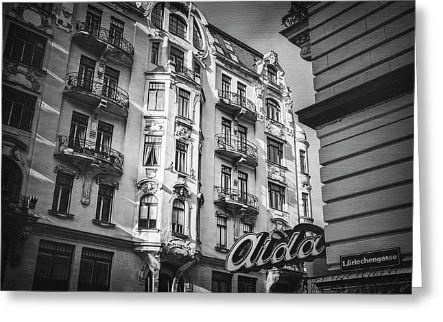 Art Nouveau Vienna In Black And White  Greeting Card