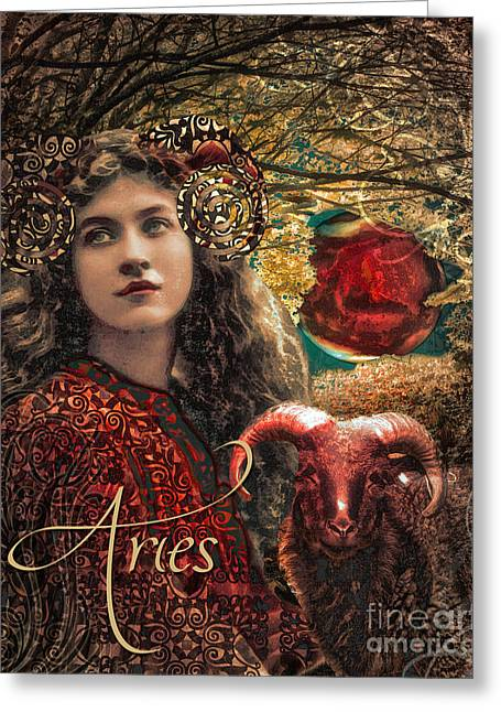 Art Nouveau Zodiac Aries Greeting Card by Mindy Sommers